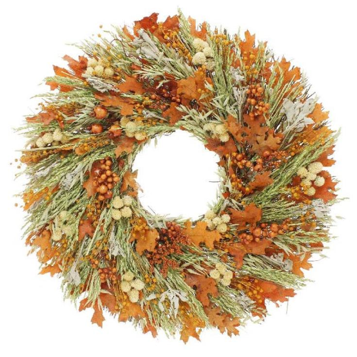 Natural dried fall wreath