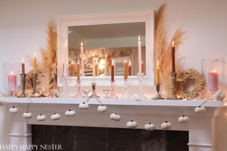 decorate your fall mantel with candles and pampas grass