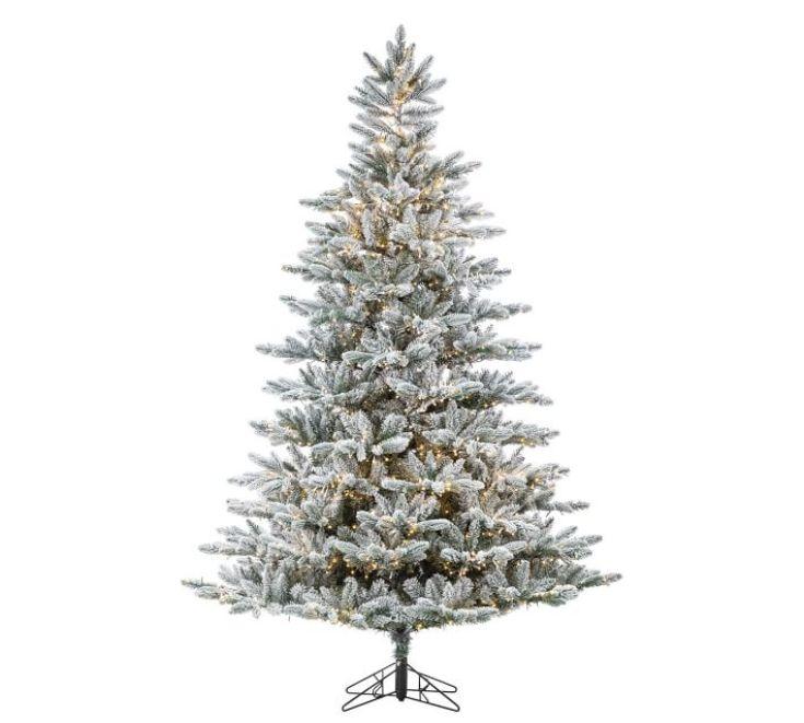 pre-lit flocked faux christmas tree