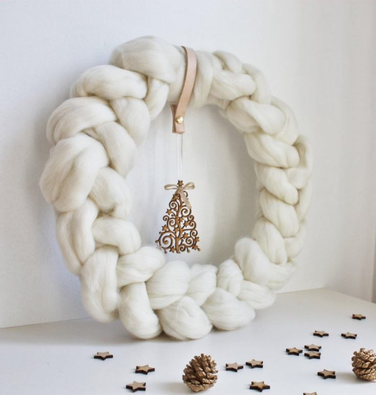 wool christmas wreath