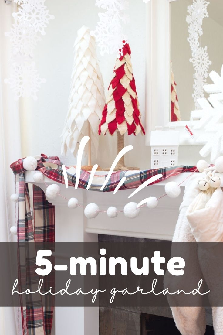 This Easy Garland DIY is perfect for a Christmas garland. This 5-minute project is so quick to make and the results are cute.