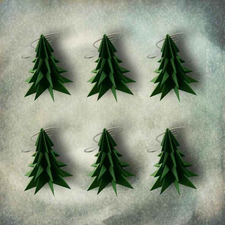 paper origami tree ornaments