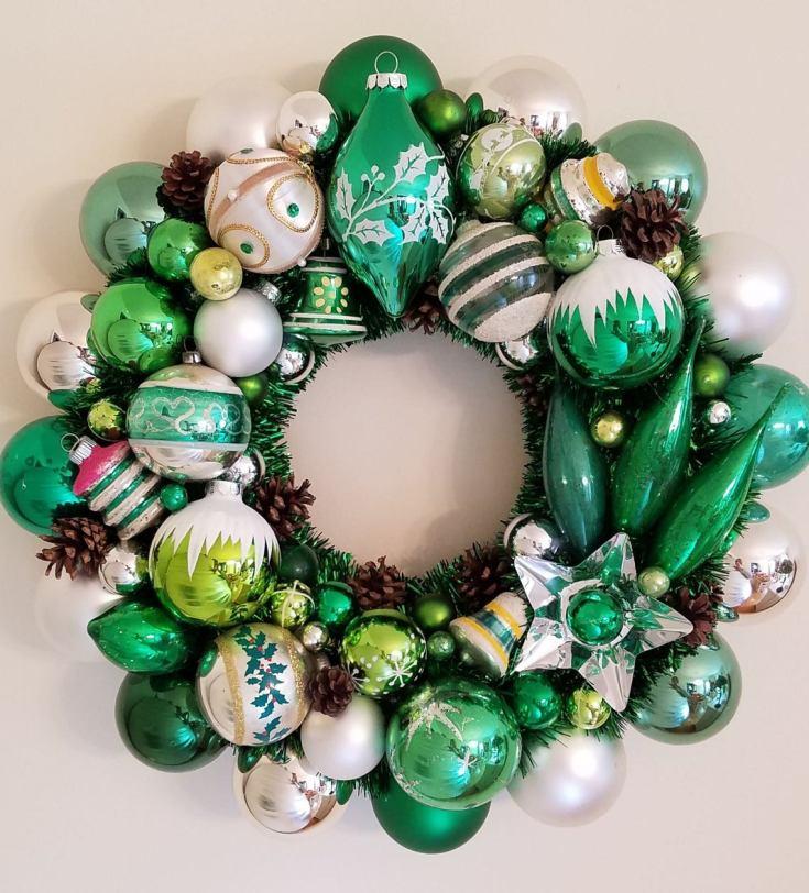 green vintage ornament wreath