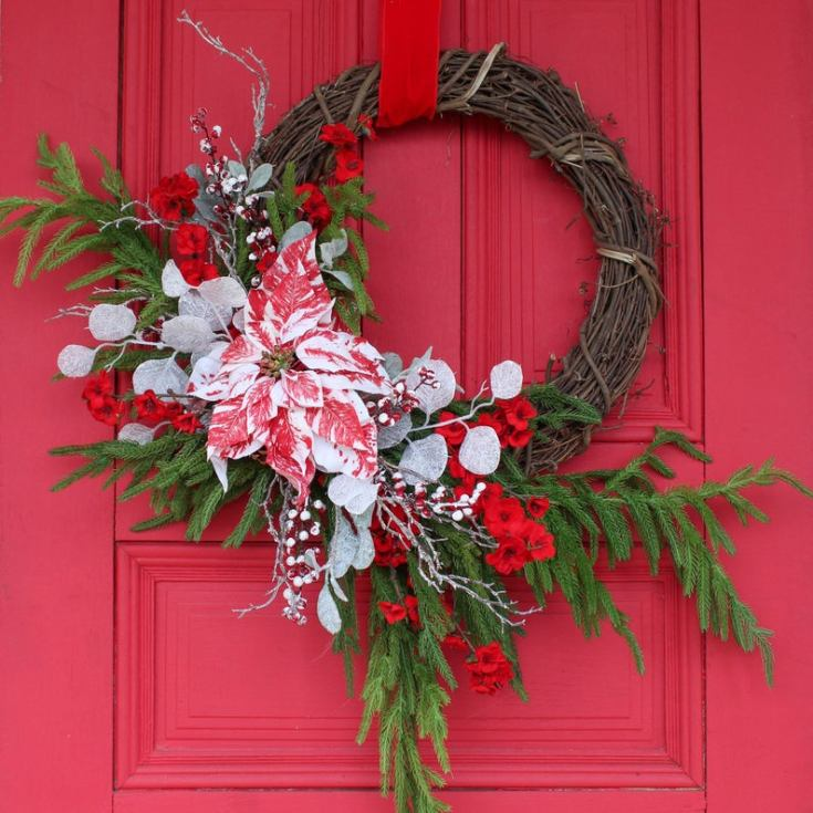 pine poinsettia wreath