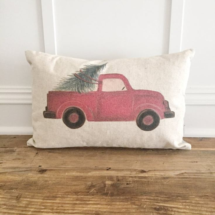 red truck holiday pillow