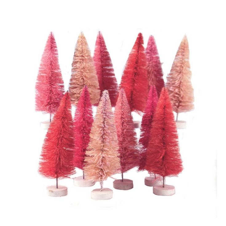 pink christmas trees