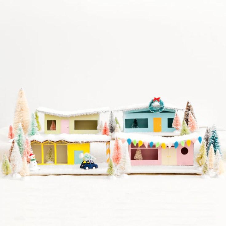 세기 중반에 미니어처 종이 주택 현대적인 스타일
