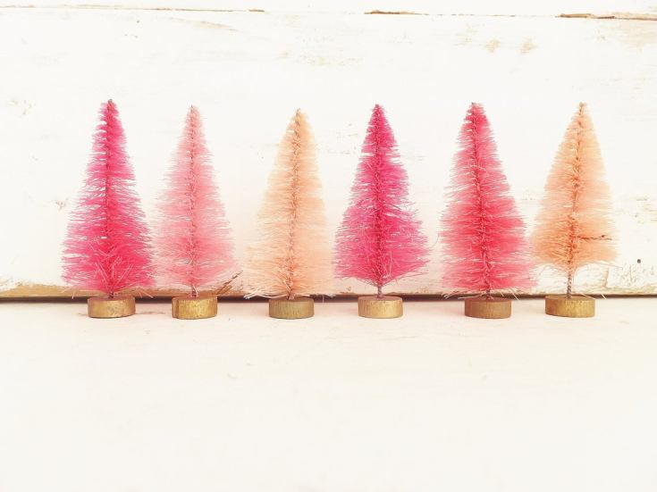 pink vintage style bottle brush trees