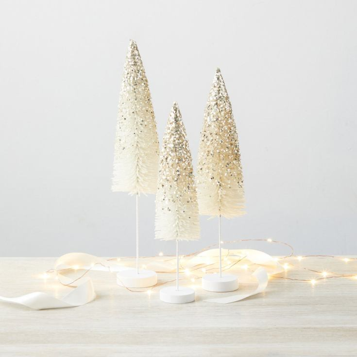 white glittered sisal trees