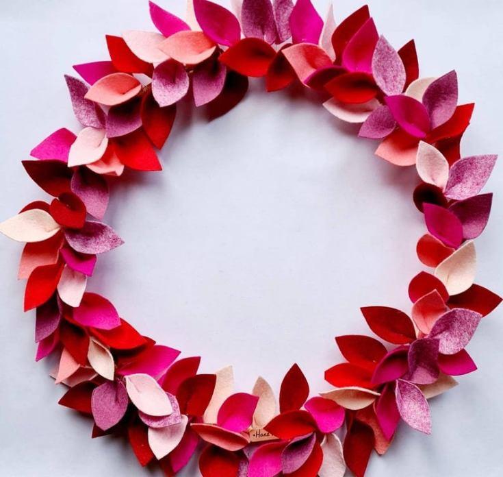 felt valentine's day decorations wreath