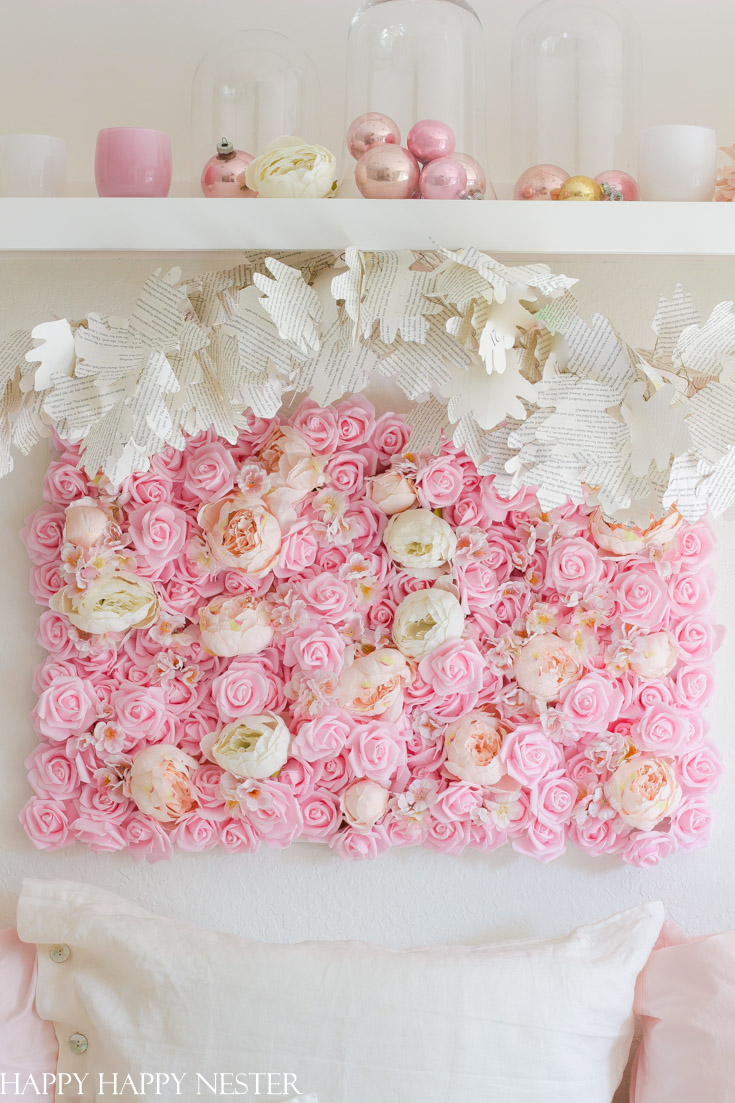 make this diy flower wall hanging for Valentine's Day