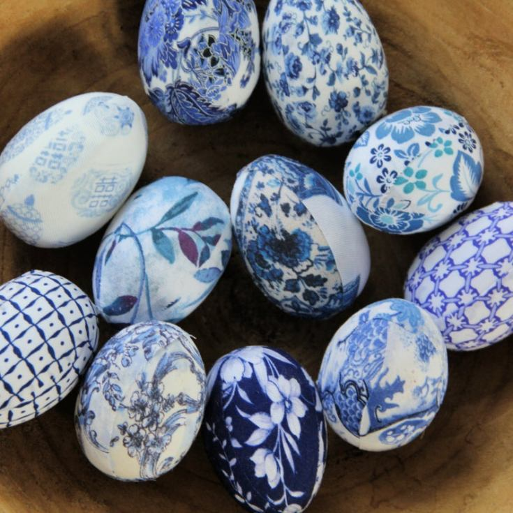 blue and white chinoiserie eggs