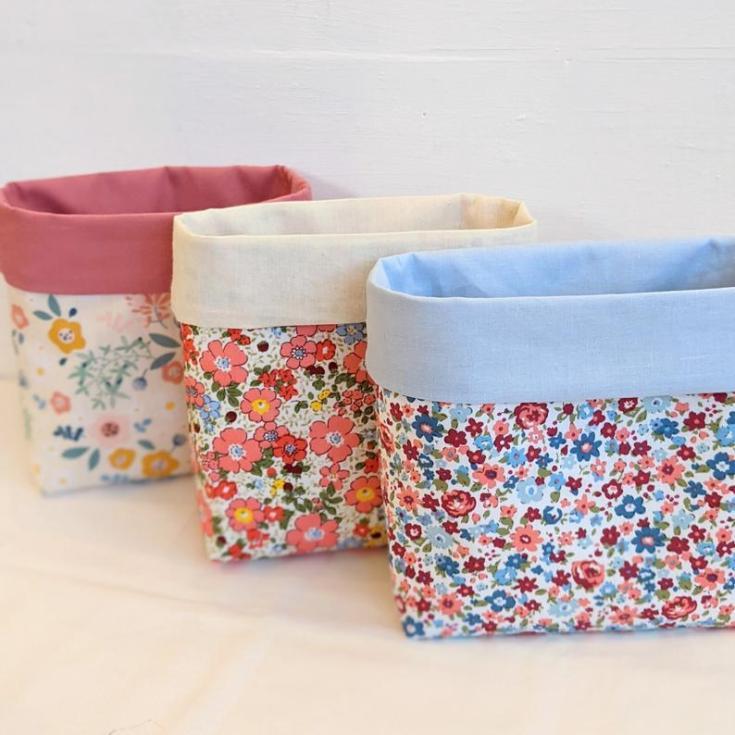 cute material baskets