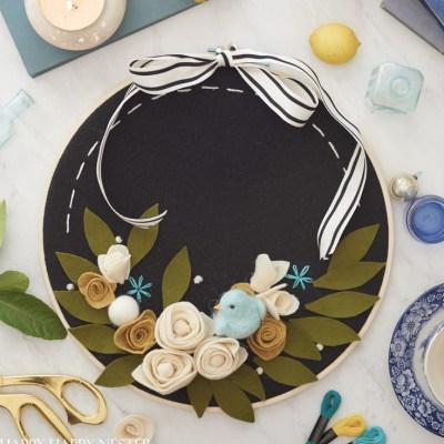 Felt Flower Wreath DIY (with Embroidery Hoop)
