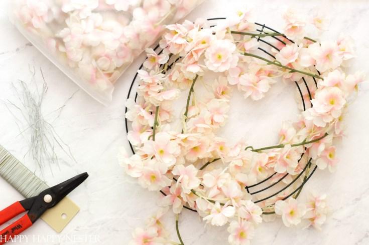 supplies for a faux flower wreath
