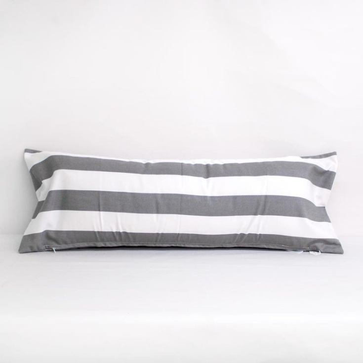 grey striped outdoor pillow