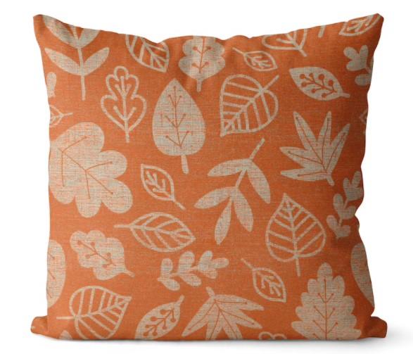 orange fall leaf print pillow