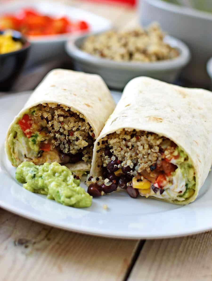 Vegan lunch box ideas - Mexican quinoa wraps