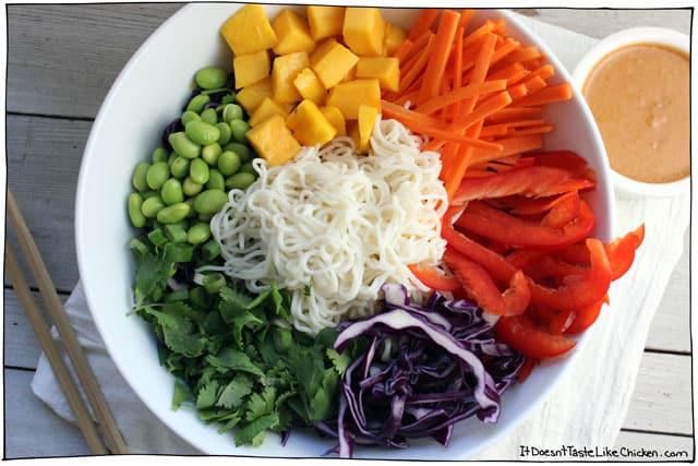Vegan lunch ideas - Rainbow Shirataki Bowl With Peanut Lime Sauce