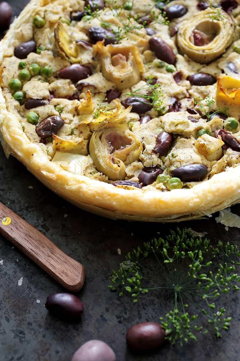Artichoke vegan quiche lunch