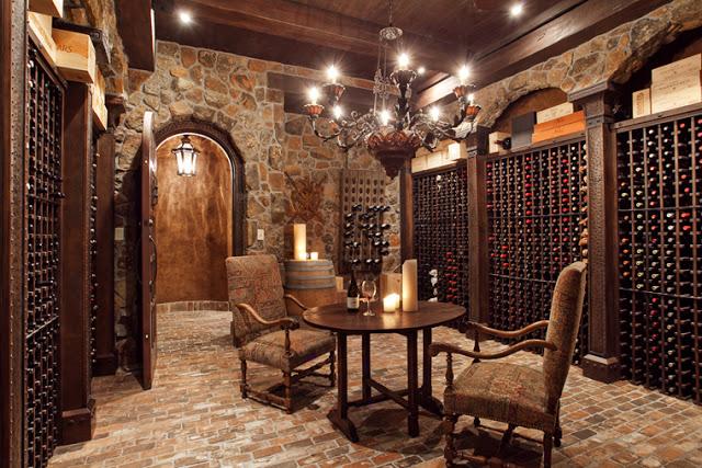 Wine Room with Tile Floor and Dark Wood Wine Racks