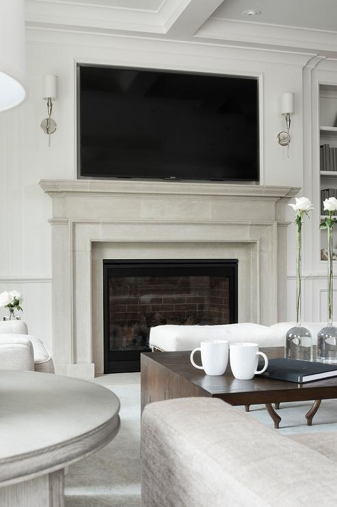 limestone-fireplace-mantel-with-tv-niche