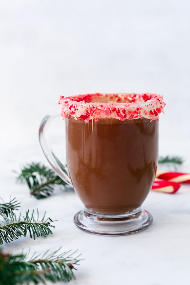 Homemade Peppermint Hot Cocoa Recipe-made without refined sugar
