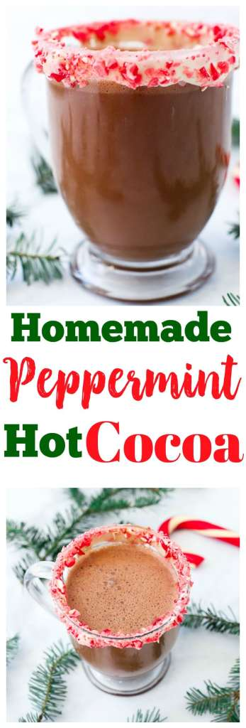 Homemade Peppermint Hot Cocoa Recipe #christmas #healthy #homemade