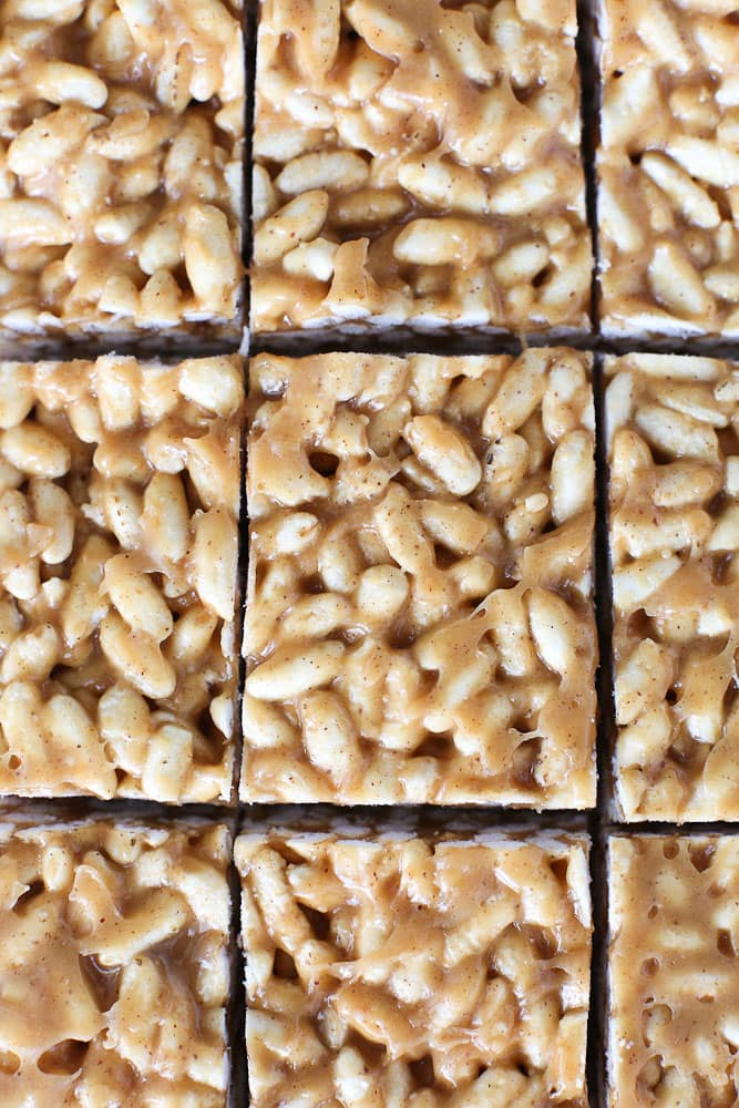 Healthier Than Rice Krispy Treats close up of the pan cut
