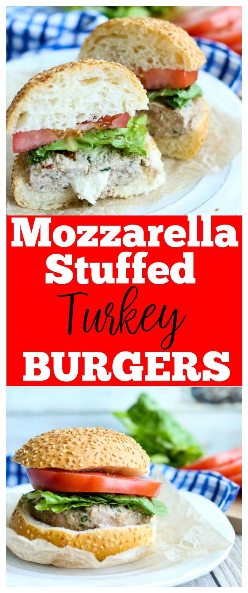 turkey burger | mozzarella stuffed turkey burger | fresh basil | healthy | gluten-free | grilling recipes | summer recipes |