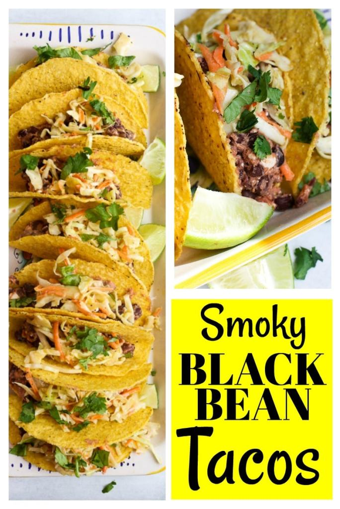 These Smoky Black Bean Tacos take about 20 minutes to make! Such a quick and easy vegetarian dinner and the whole family loves them! #tacos #vegetarian #healthy #easy #weeknight #dinner #blackbeans