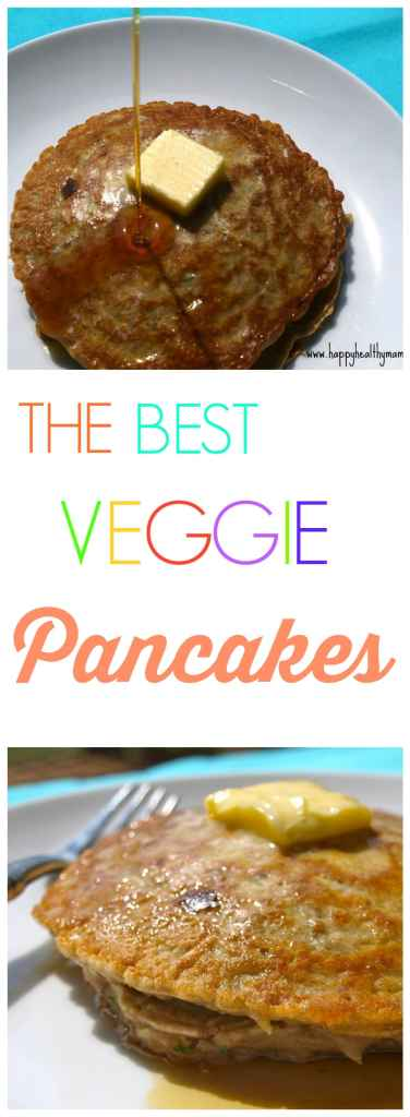 These Veggie Pancakes have 3 cups of shredded vegetables! They taste like traditional pancakes but with a big boost of nutrition from all those extra veggies! My kids lOVE those and I love getting more vegetables into their little bodies. Great healthy recipe!