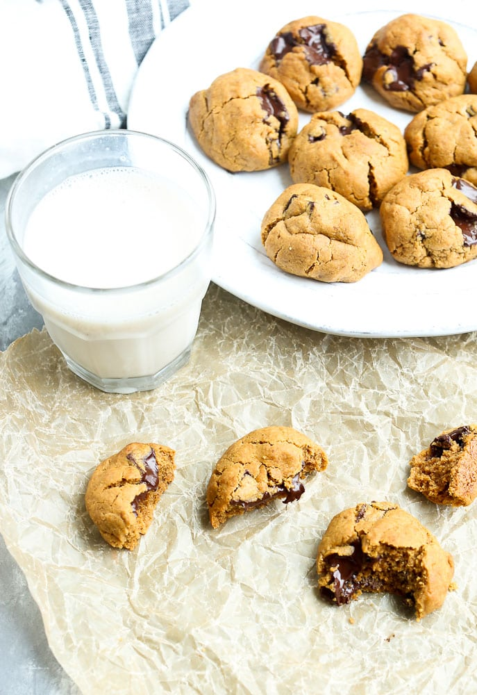 Flourless Peanut Butter Chocolate Chunk Cookies Recipe with a glass of milk