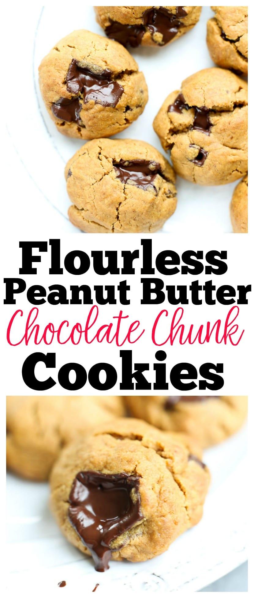 Flourless Peanut Butter Chocolate Chip Cookies Recipe | healthy cookies | gluten-free cookies |flourless cookies | dairy free |