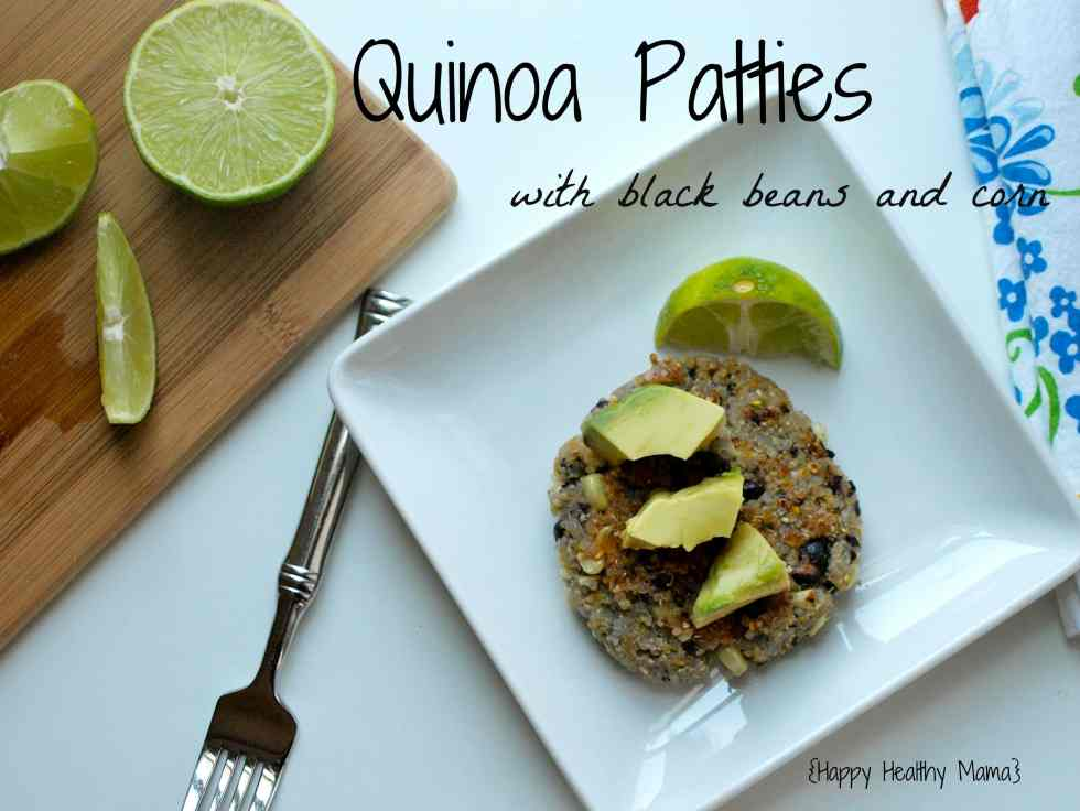 These Quinoa Patties with Black Beans and Corn are the BEST vegan patties ever. They hold together well and are full of flavor. Quinoa+Black Beans=tons of protein. Easy, clean-eating recipe.