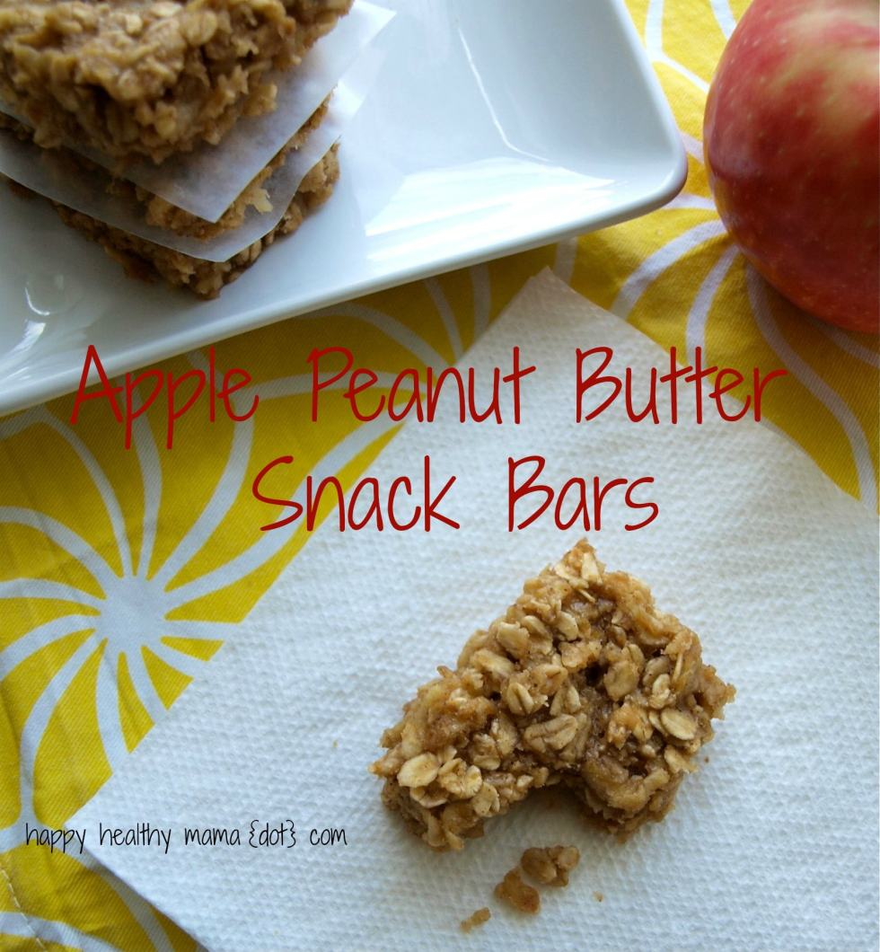 Apple Peanut Butter Snack Bars--no flour, no oil, and no refined sugar. Easy to make and perfect for a school lunch or after school snack.