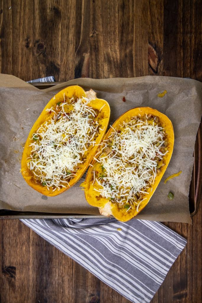 Italian baked spaghetti squash with cheese before baking