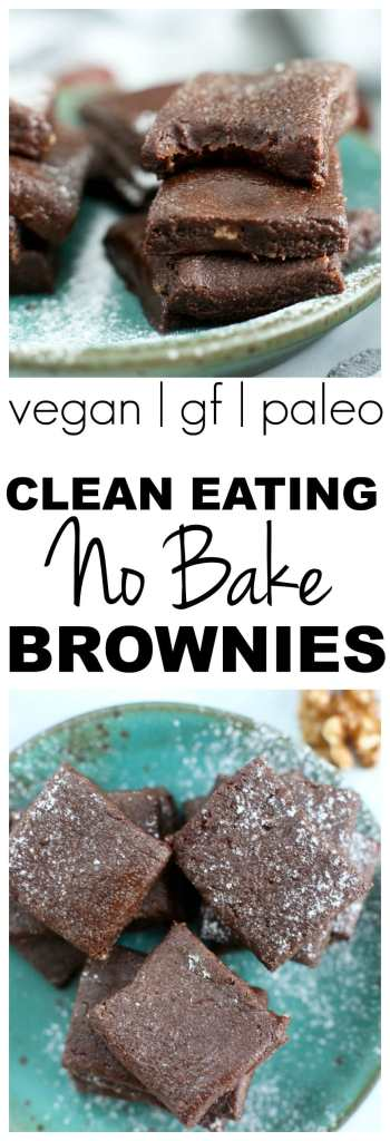 Clean Eating No Bake Brownies Recipe #paleo #vegan #glutenfree #dairyfree #healthy #chocolate #brownies #dessert