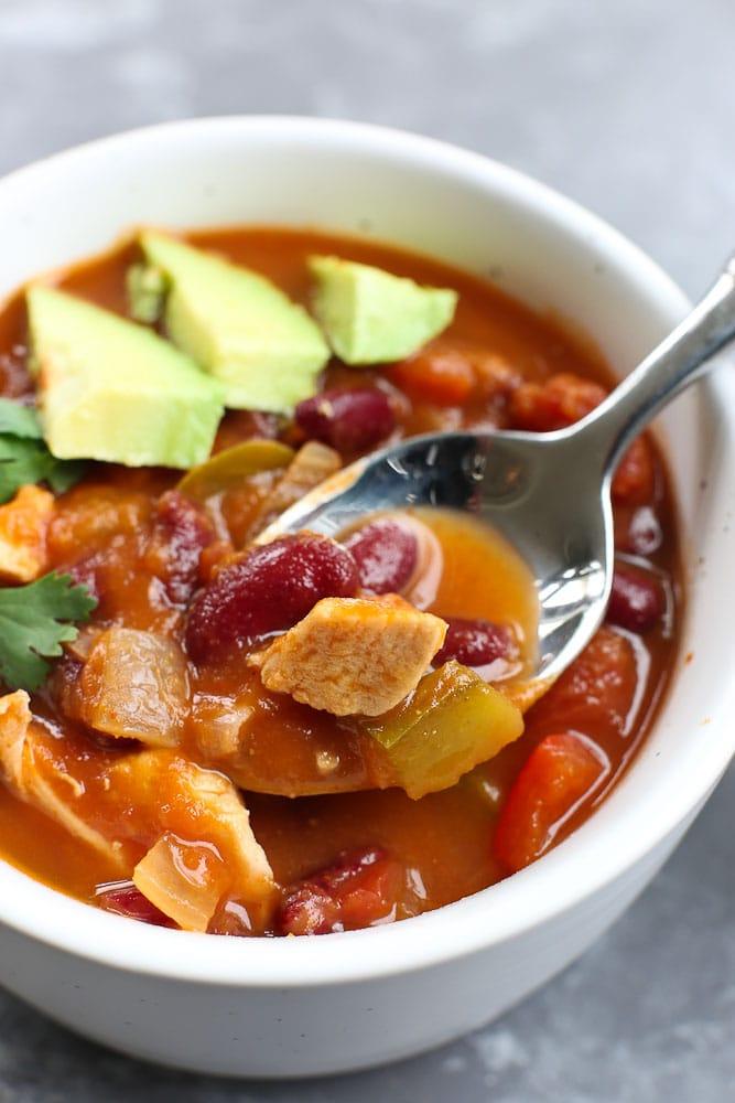a spoonful of Pumpkin Chicken Chili recipe