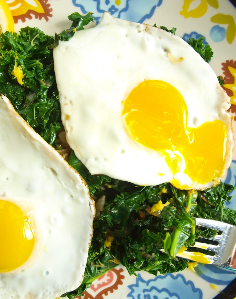 Lemony sautéed kale with runny eggs!