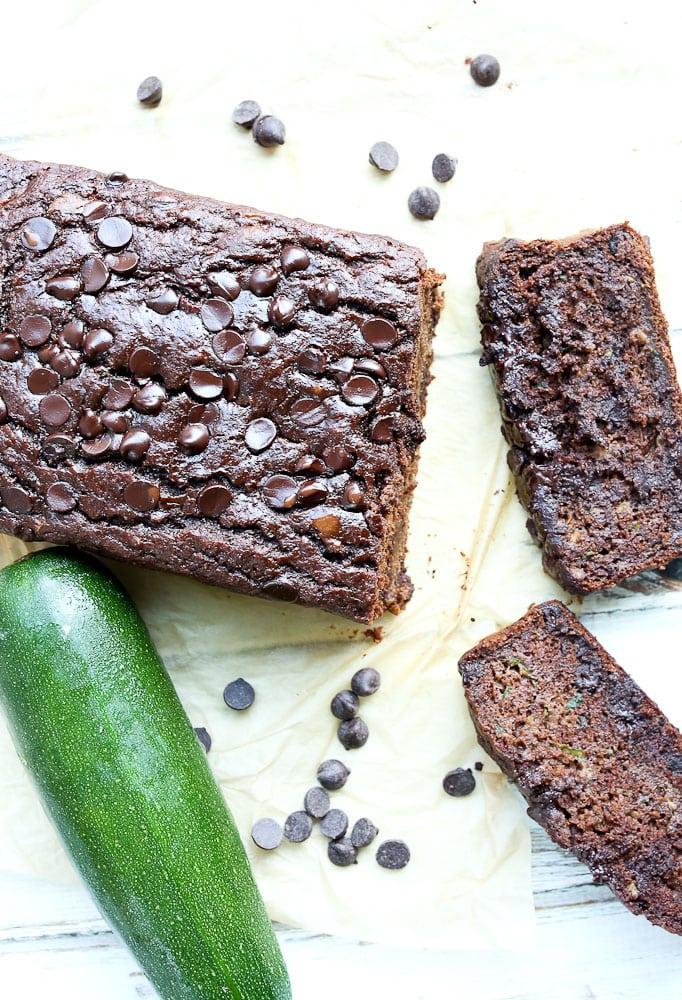 Double Chocolate Zucchini Banana Bread Recipe Slices