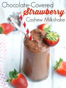 This Chocolate Covered Strawberry Milkshake is dairy-free, yet totally delicious. It's a healthy treat that's made without refined sugar. Super easy recipe to make! Gotta love a healthy dessert.