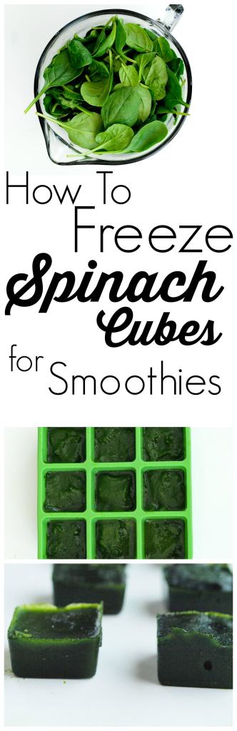 How to Freeze Spinach into Cubes for Smoothies! You can always have spinach ready for healthy smoothies with these make-ahead cubes. Takes minutes to prepare and makes your mornings easier!