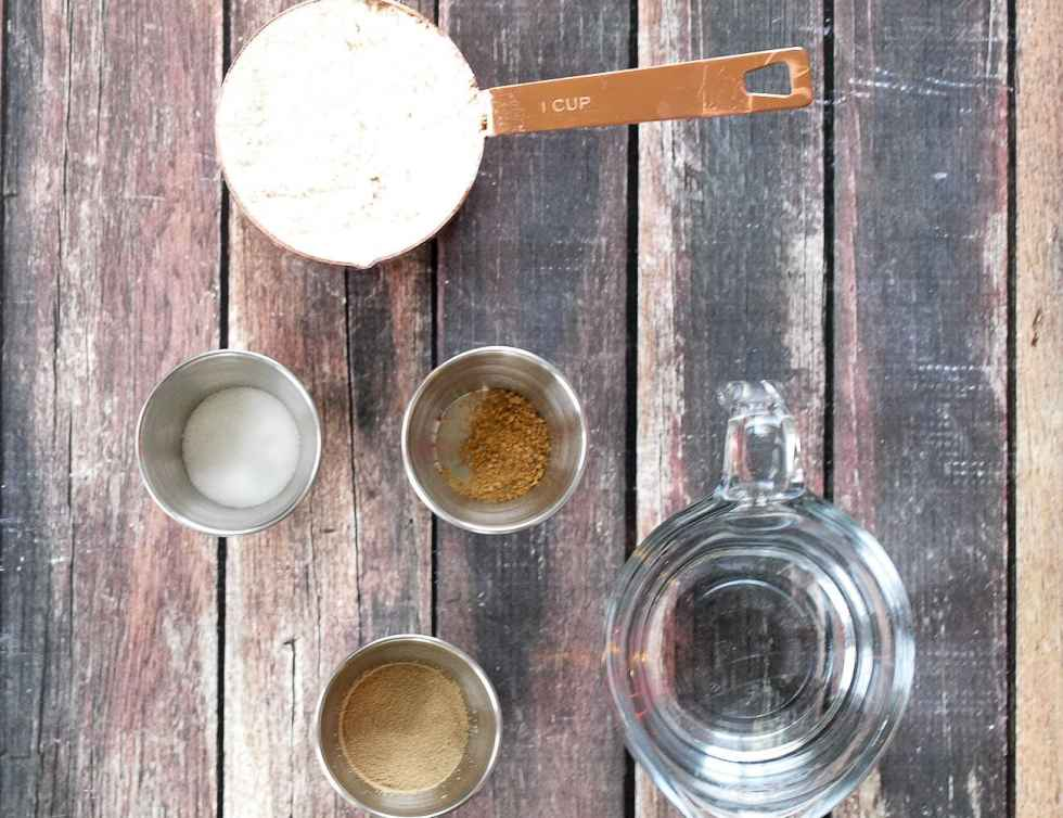 Ingredients for homemade pizza dough. It's so easy!