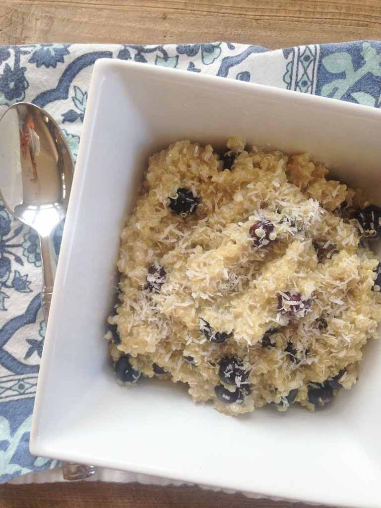 What I Ate Wednesday (Breakfast--Coconut Blueberry Quinoa)