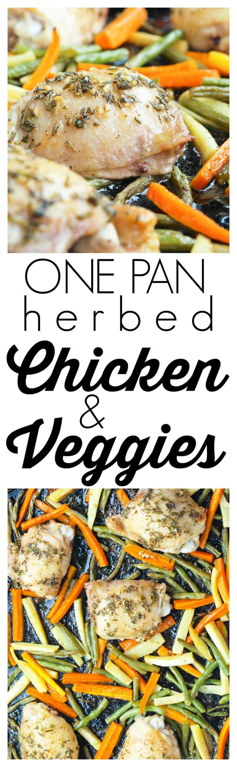 One Pan Chicken and Vegetables with Fresh Herbs Recipe. This is a healthy, clean eating recipe that is quick and easy for weeknight dinners. One pan means quick clean up. There's tons of flavor and the whole family will love it.