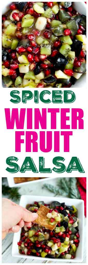 Spiced Winter Fruit Salsa appetizer. A healthy and easy appetizer naturally sweetened and using seasonal winter fruit.