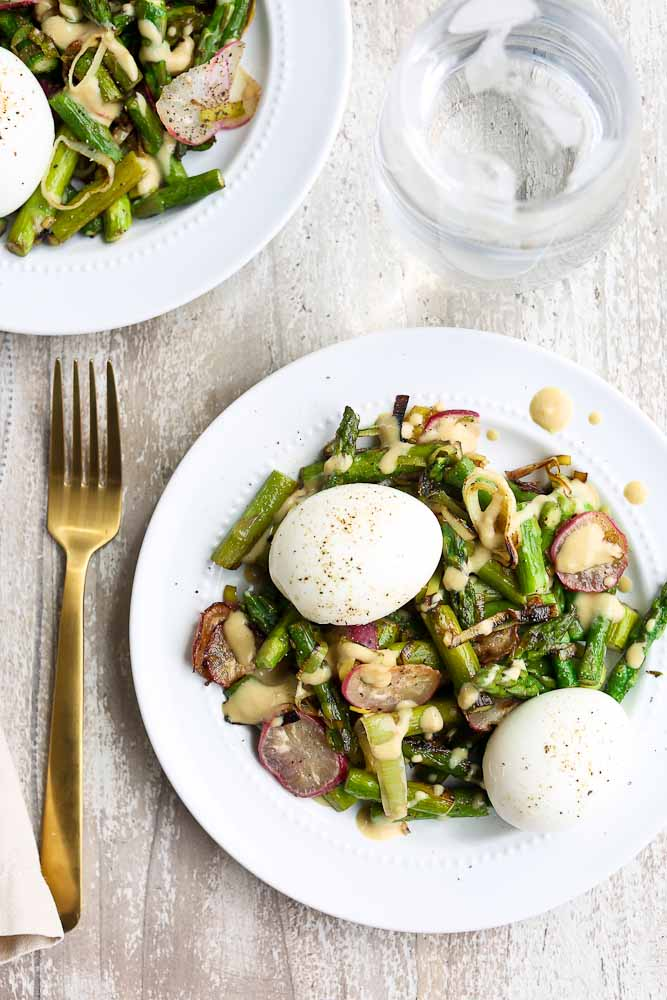 Spring Vegetable Skillet with Soft Boiled Eggs