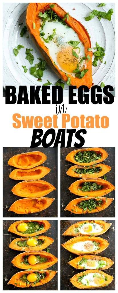 baked eggs in sweet potato recipe | healthy breakfast | sweet potato recipes | low carb | vegetarian | gluten-free | Paleo