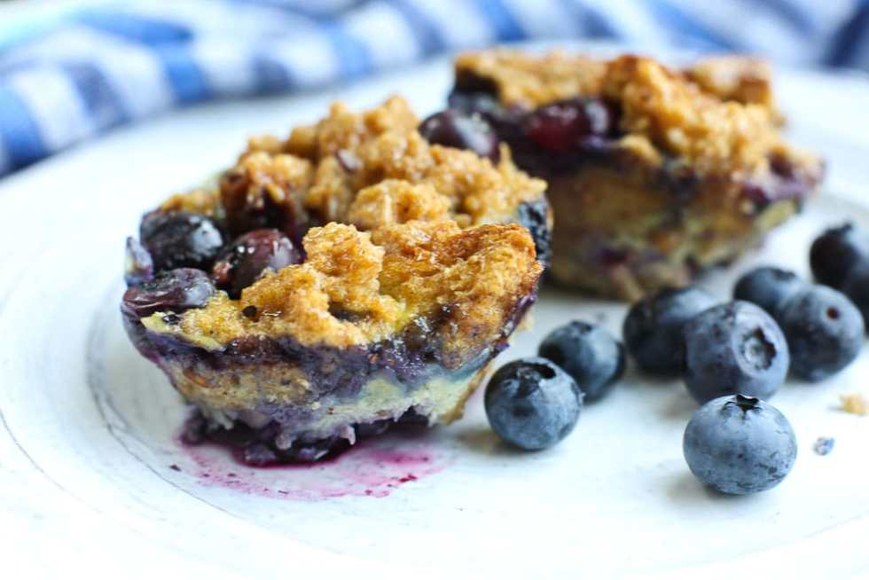 Blueberry BAked French Toast Cups with fresh blueberries on the side